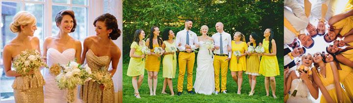 Друзья и гости на свадьбе в золотом цвете