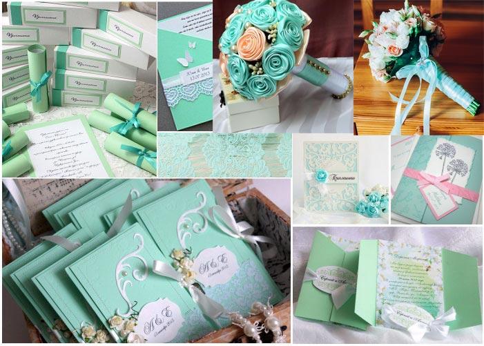 Пригласительные на свадьбу и букет невесты в мятных тонах