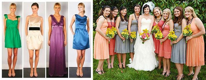 Платья на свадьбу дял гостей разной длины