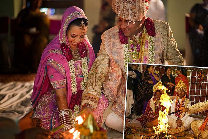Индийский свадебный обряд у огня. Начало свадьбы