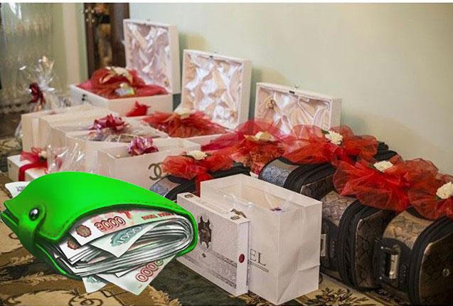 Подарочные коробки и кошелек с деньгами