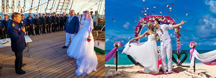 Свадьба на пляже и на корабле