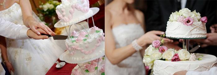 Молодожены режут торт