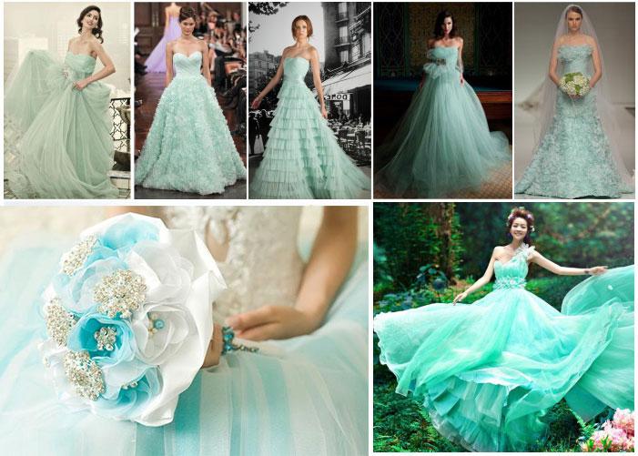 Платья невесты в мятном цвете