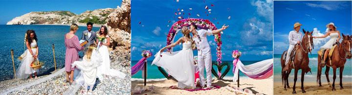 Молодожены на лошадах и свадьба на пляже