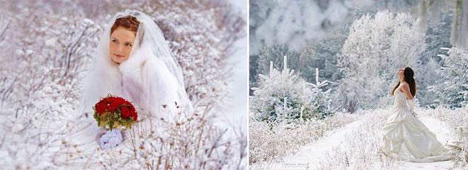 Наряды и фото невесты зимой