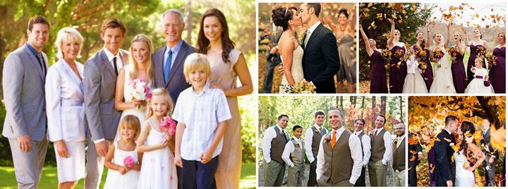 Гости и их одежда на свадьбе осенью