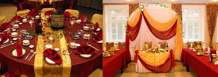 Варианты бордово-золотого оформления зала на свадьбу