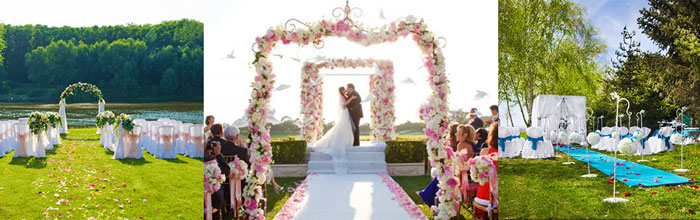 Варианты декора зоны регистрации брака на природе