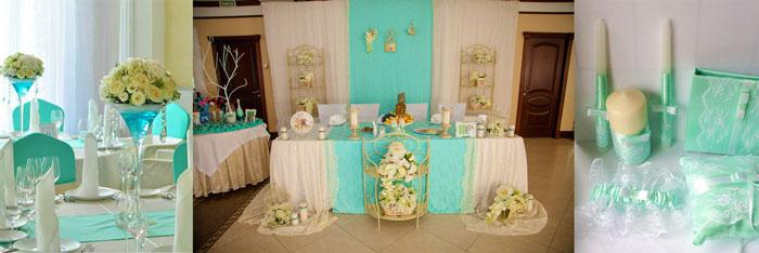 Свадебный декор в мятных тонах