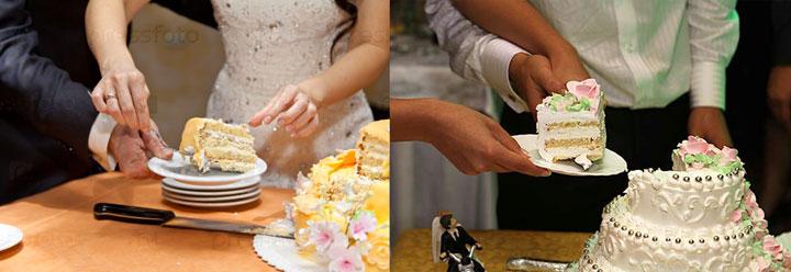 Садебный торт, отрезаны первые дольки