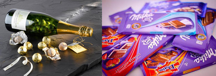 Шампанское, конфеты шоколадки
