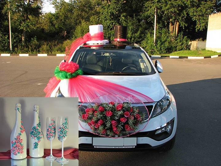Свадебные: авто, бокалы и шампанское