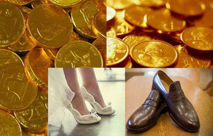 Свадебная обувь и монеты