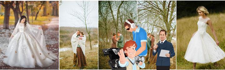 Невеста и молодожены на природе в марте , тамада, диджей и фотограф