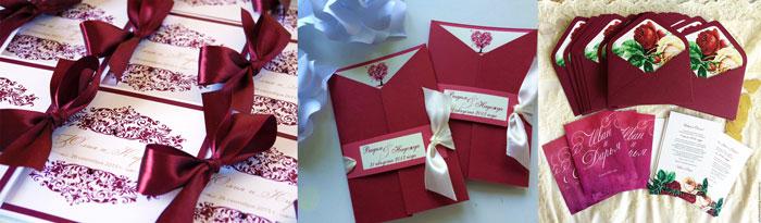 Приглашения на свадьбу в бордовом цвете