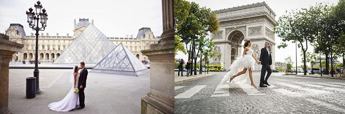 Молодожены гуляют в Париже