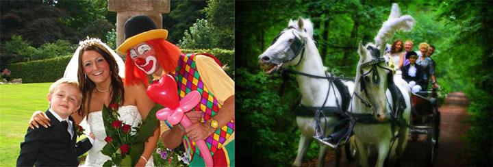 Свадебная конная прогулка и клоун на свадьбе