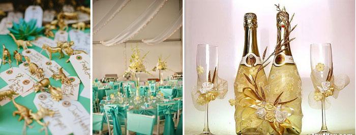 Сервировка на свадьбе в золотом цвете