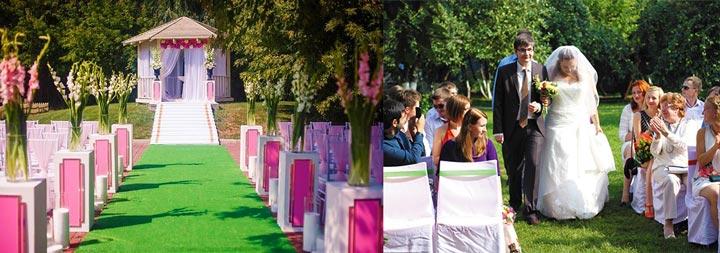 Молодожены и свадьба в саду