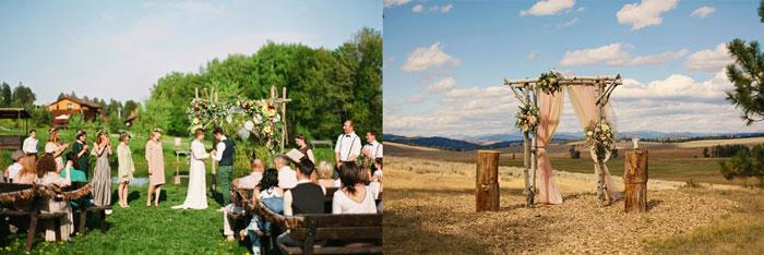 Свадьба в стиле бохо и свадебная арка в стиле рустик
