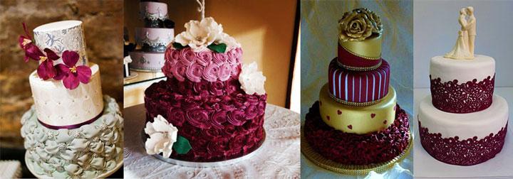 Варианты свадебных тортов в бордовом цвете