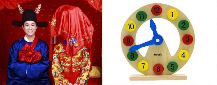 Китайские молодожены и часы из деерва