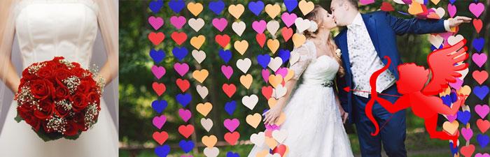 Молодожены в сердечках, купедон и букет невесты из красных роз