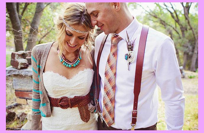 Жених и невеста в стиле хиппи