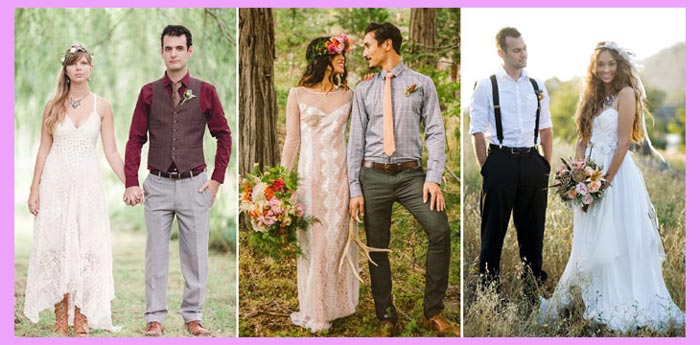 Жених и невеста в стили хиппи