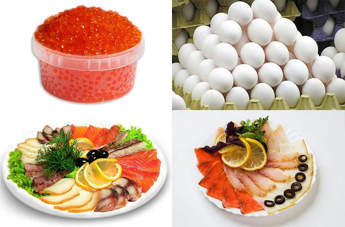Карсная икра, яйца, рыбное ассорти