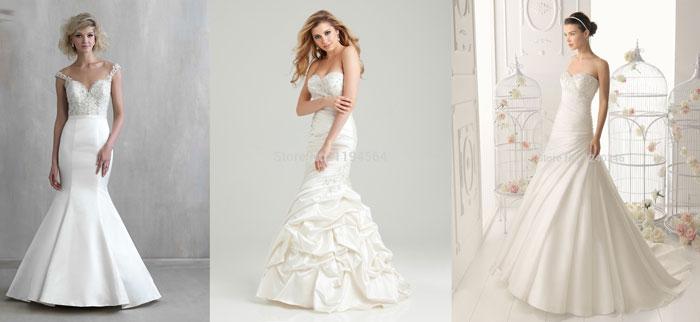Свадебные платья: стиль Русалка из тафты