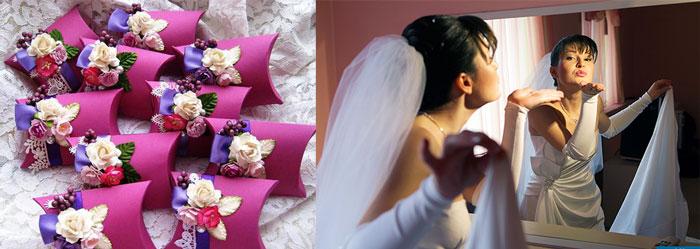 Воздушный поцелуй невесты и подарки