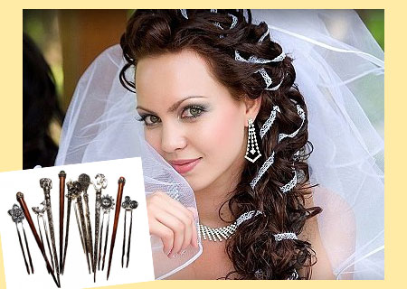 Свадебная прическа и шпильки