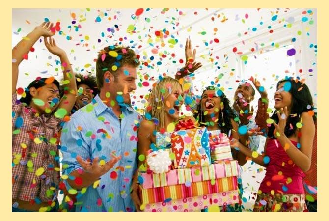 Празднование с конфети