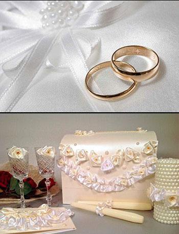 Свадебные кольца, фужеры и декор