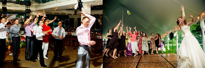 Кидание свадебный букета и подвязки