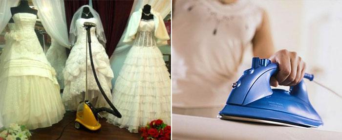 Отпариватель и утюг для свадебного платья