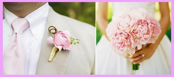 Украшения жениха и невесты для пионовой свадьбе