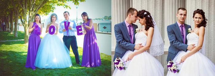 Наряды жениха и невесты в сиреневом тоне