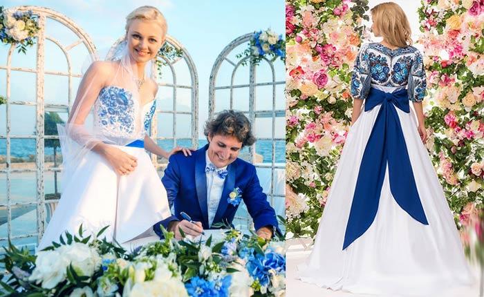 Невеста и жених в стиле гжель
