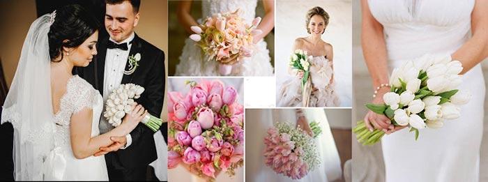 Невеста и жених тюльпановой свадьбы