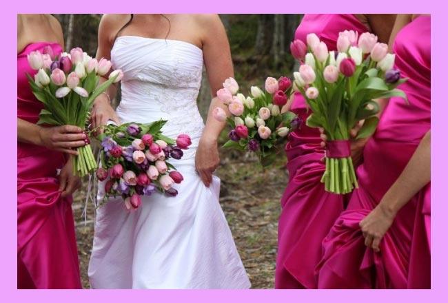 Невеста с подругами и тюльпанами