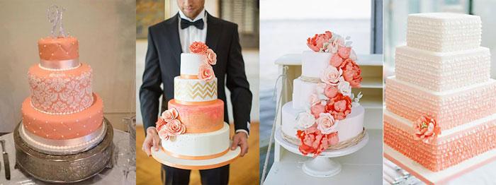 Свадебные торты в коралловом цвете