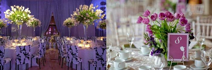 Свадебный декор тюльпанами