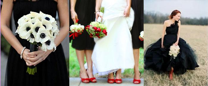 Чернобелый стиль и букеты невесты