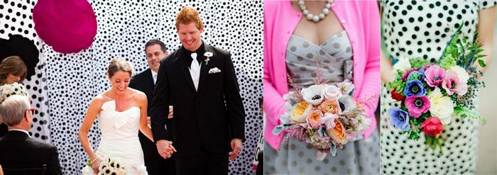 Наряды жениха и невесты на свадьбу в горошек