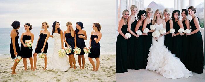 Наряды подружек на свадьбе в черном