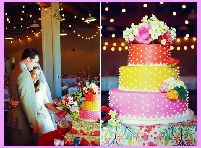 Свадебный торт в горошек