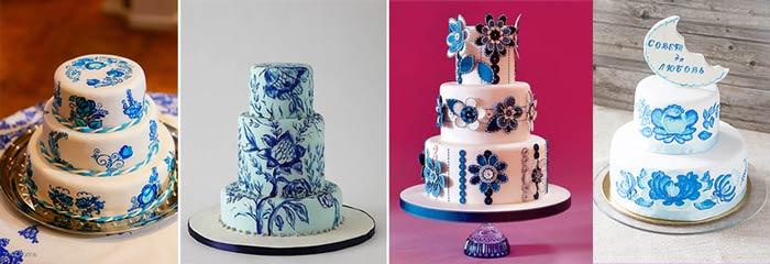 Свадебные торты в стиле гжель